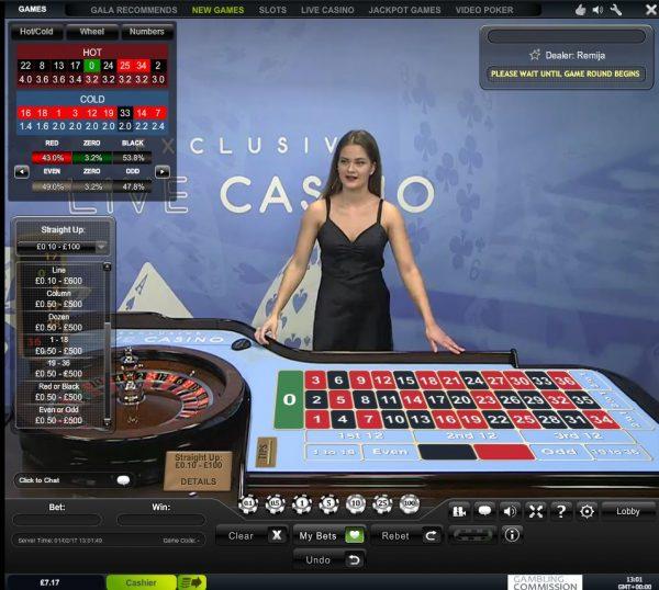 Gala Casino Live Dealer Roulette